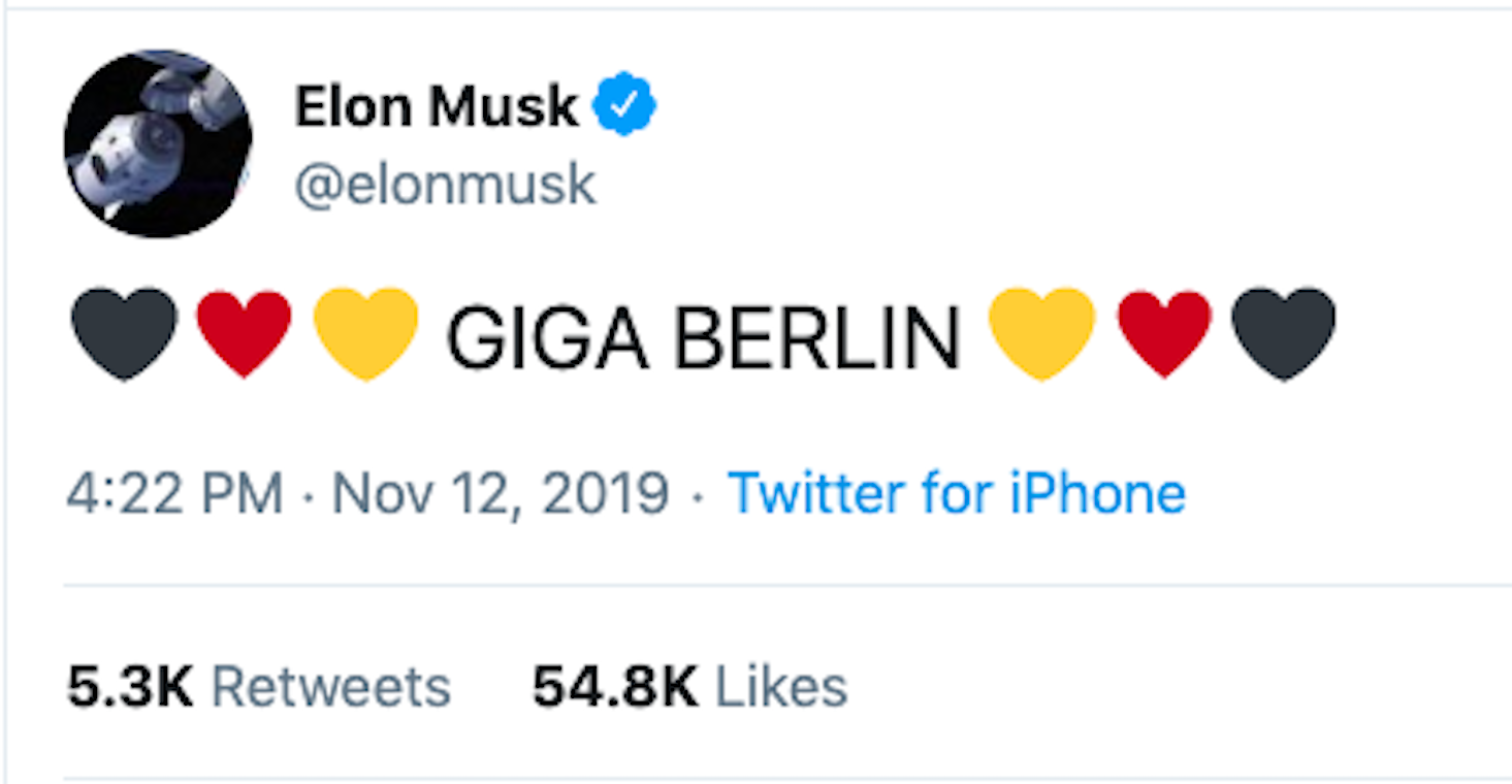 Tweet from Tesla's Elon Musk announcing a factory in Europe.