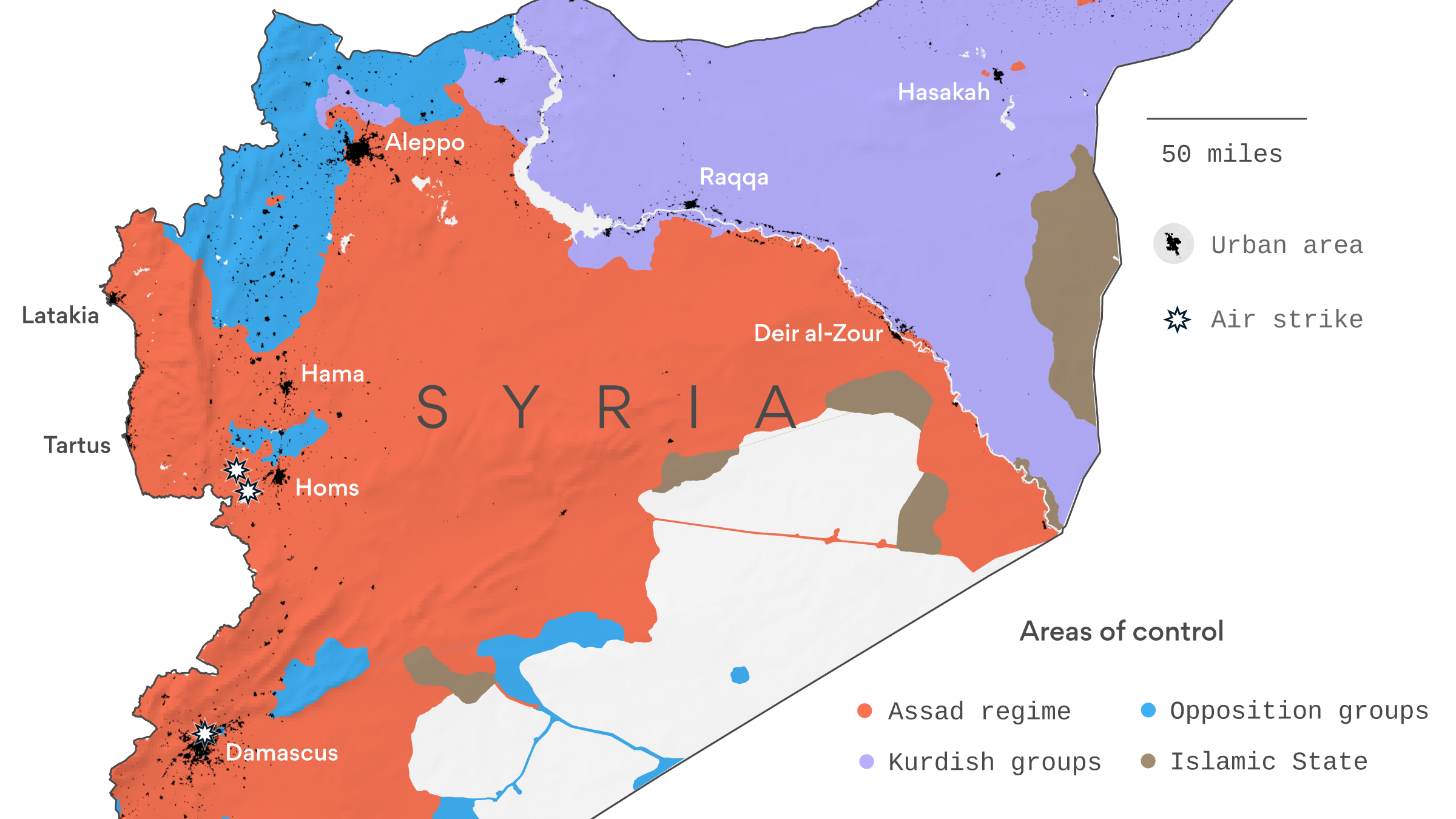 Map Where the airstrikes hit in Syria Axios
