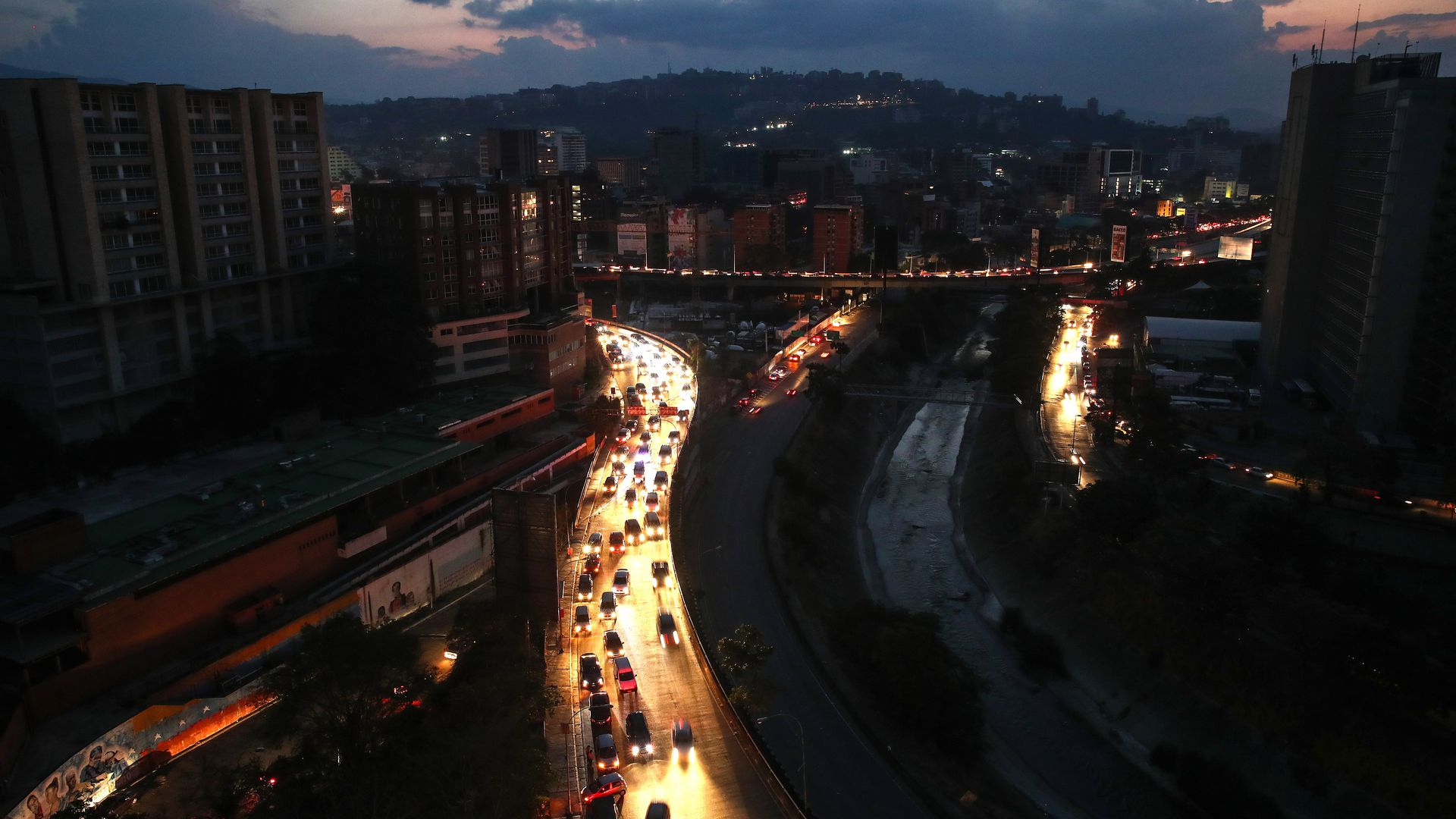 Caracas streets during a power outage