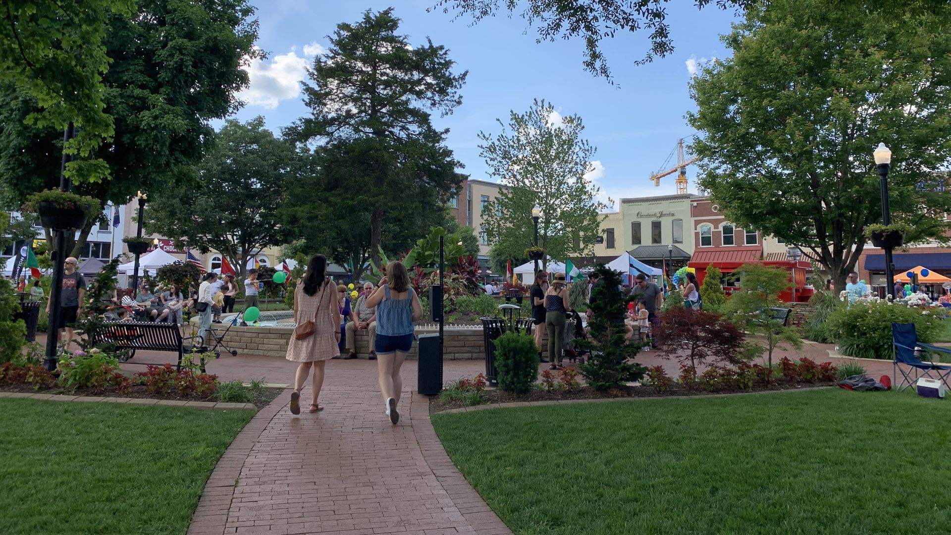 Crowds getting ready for First Friday at the downtown Bentonville square.