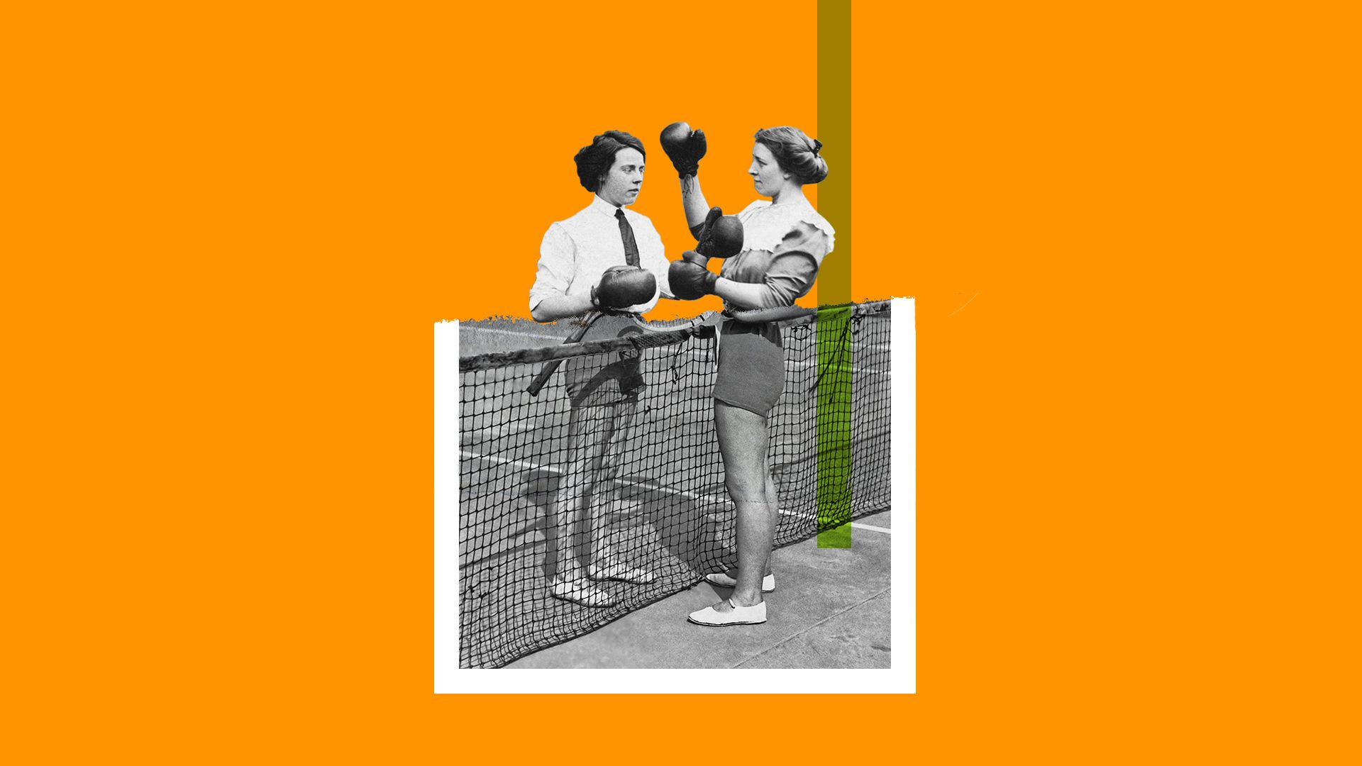 Collage illustration of two historical photos of women playing tennis and learning boxing