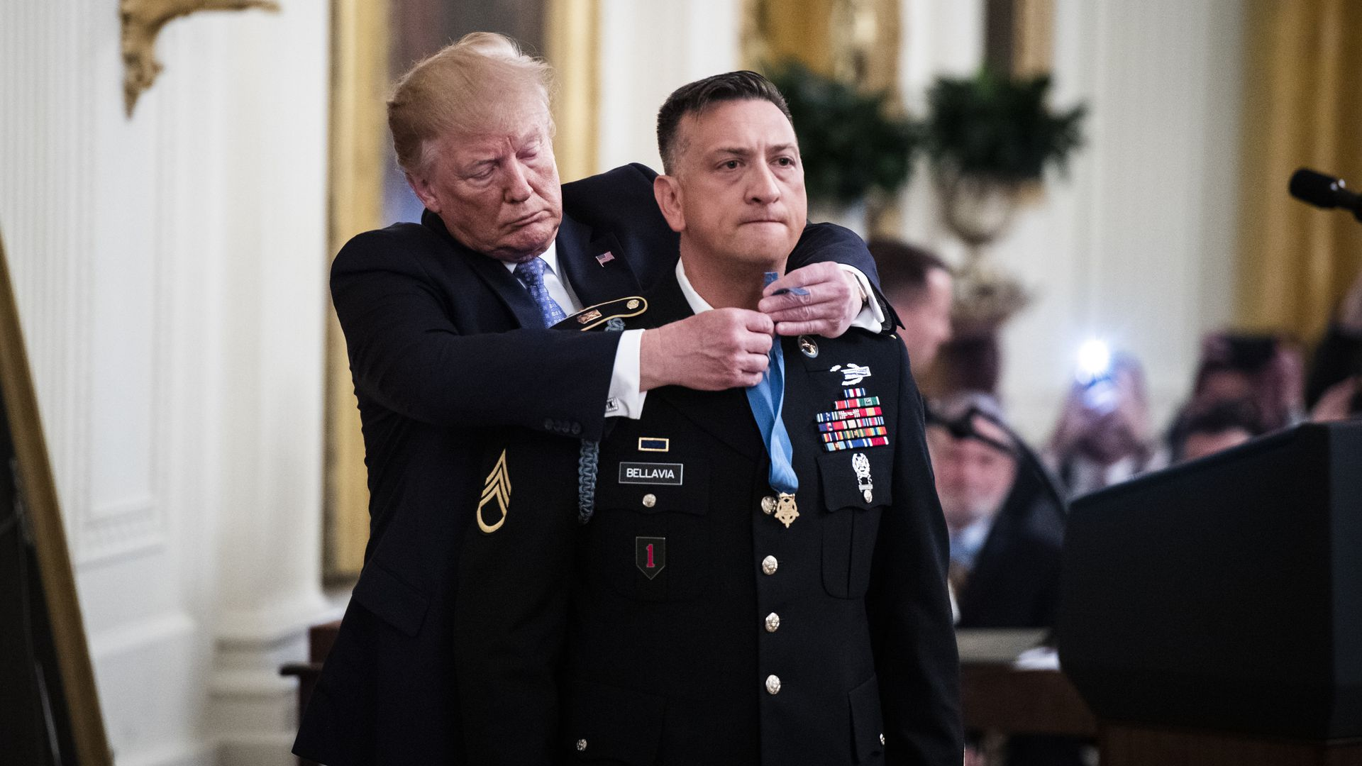 President Donald J. Trump participates in a ceremony to award the Medal of Honor to Army Staff Sgt. David Bellavia in the East Room at the White House on Tuesday, June 25, 2019 in Washington, DC.
