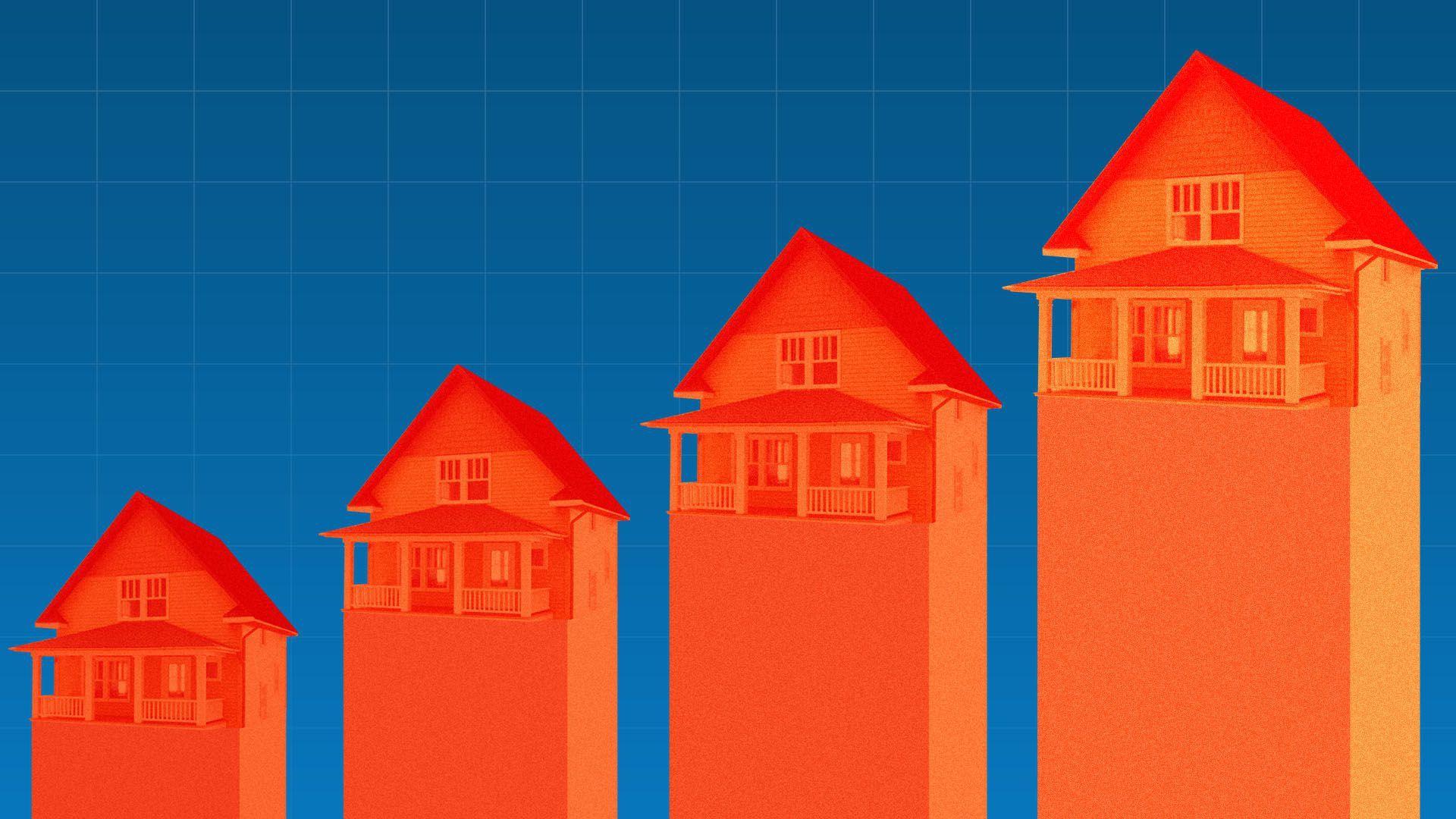 An illustration of houses rising higher.