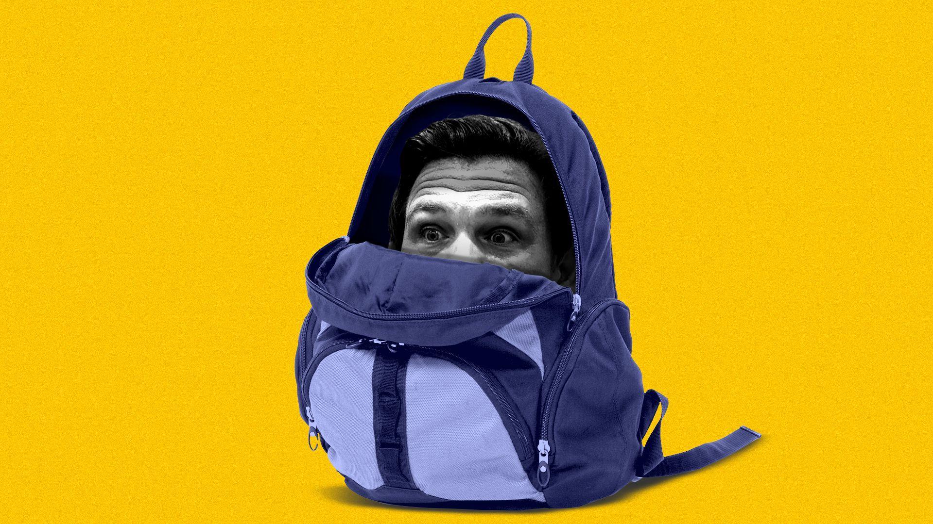 Photo illustration of Florida Gov. Ron DeSantis inside a backpack, peeking out.