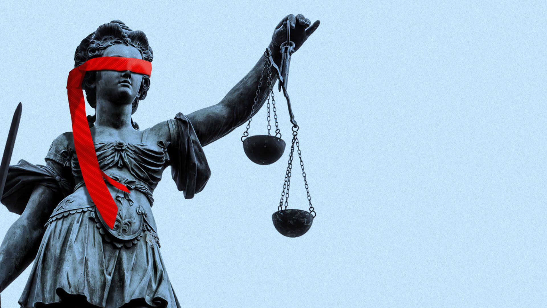 Illustration of a statue of Justice wearing a red tie as a blindfold