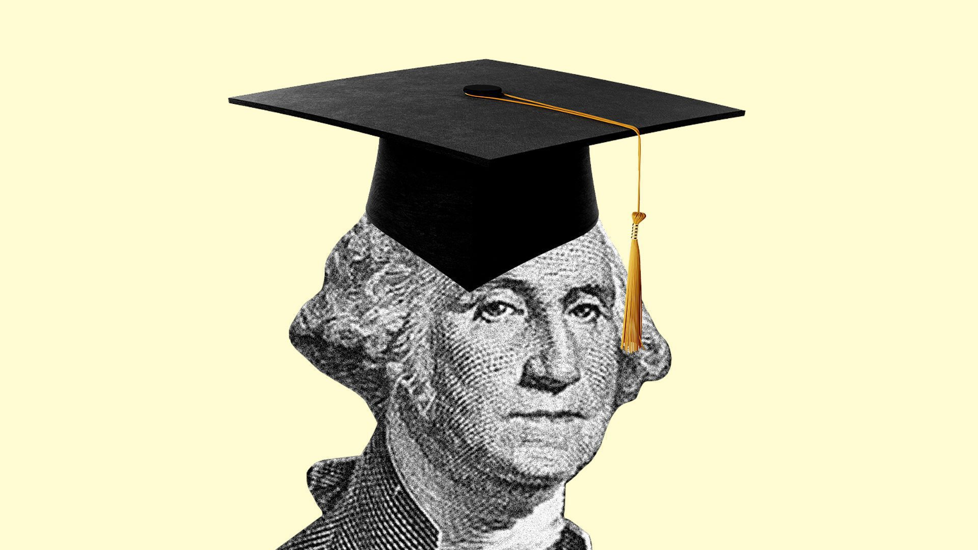 In this illustration, a drawing of George Washington wears a graduation cap against a pale yellow background.