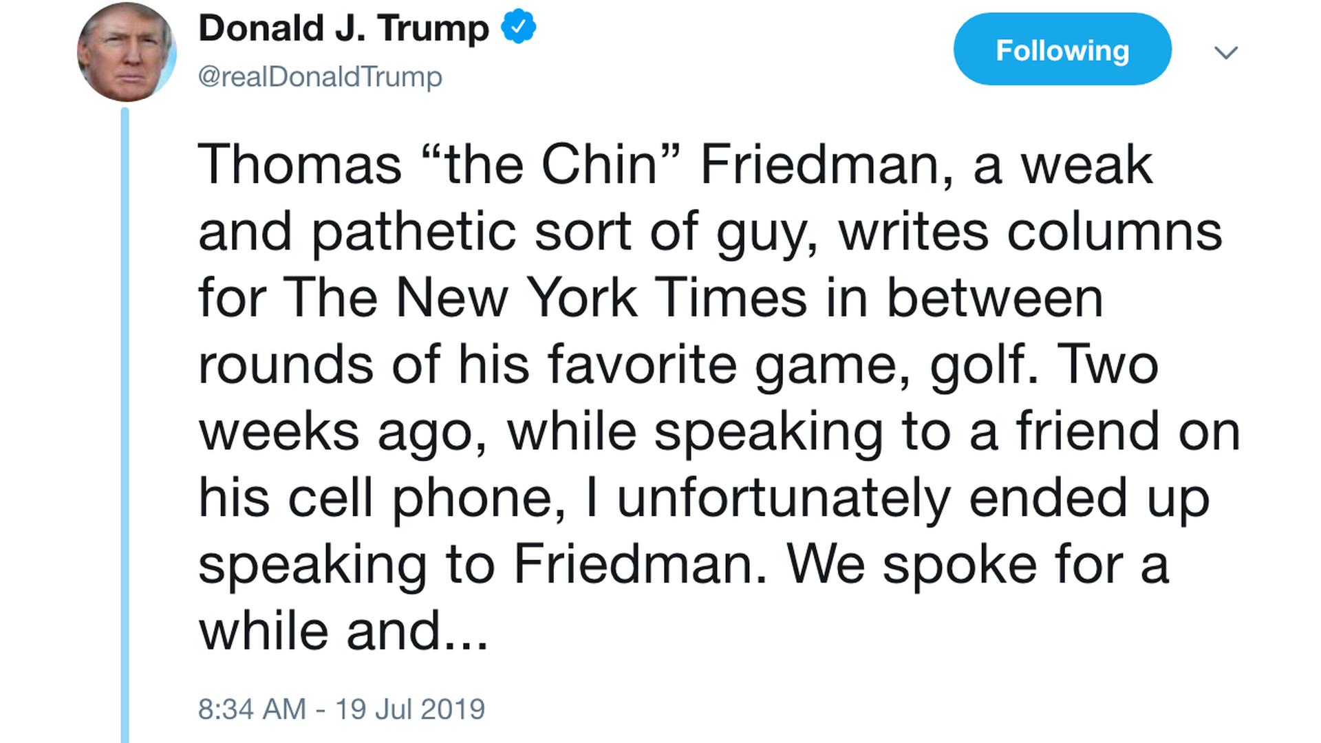 Trump rips New York Times columnist Thomas Friedman on