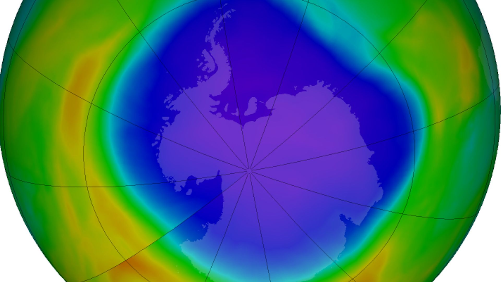 The Antarctic ozone hole in 2018.