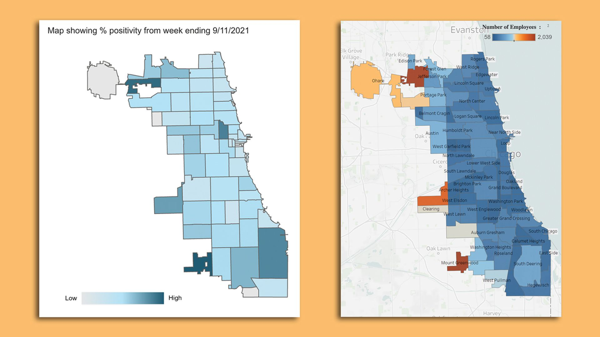 Map showing dark blue zones in the northwest and southwest corners of Chicago.