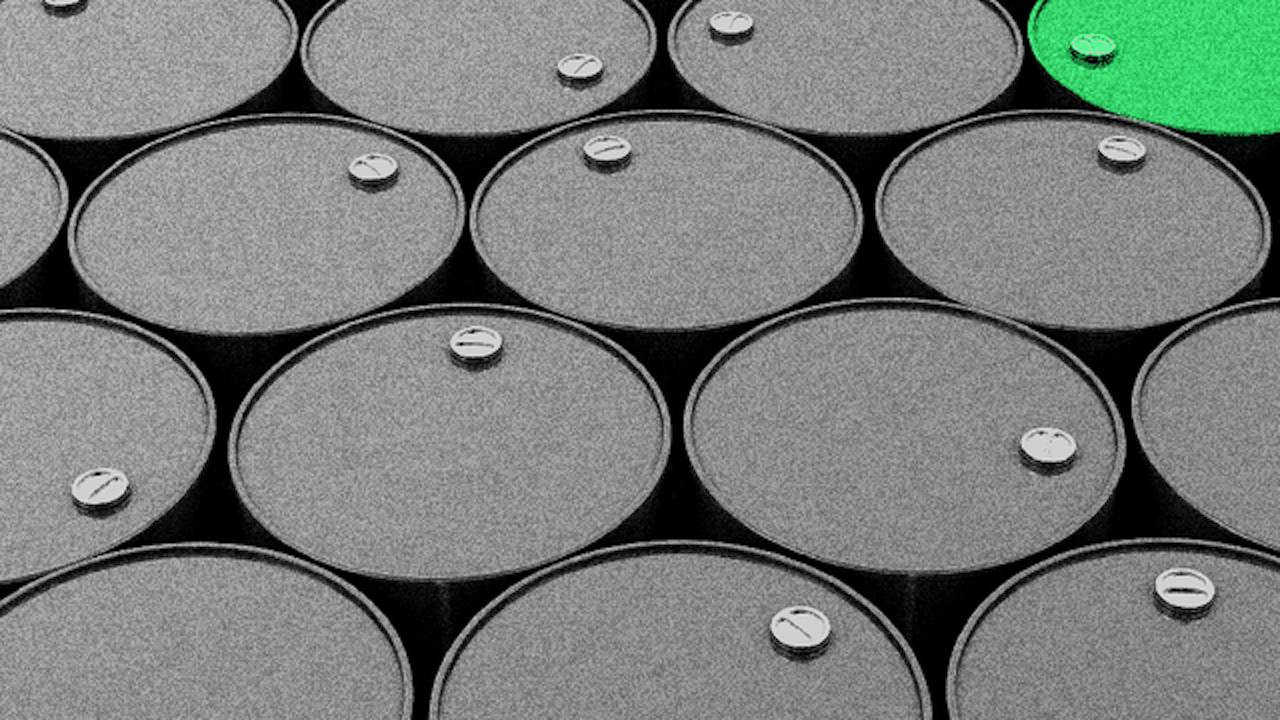 Illustration of many oil barrels with one green one