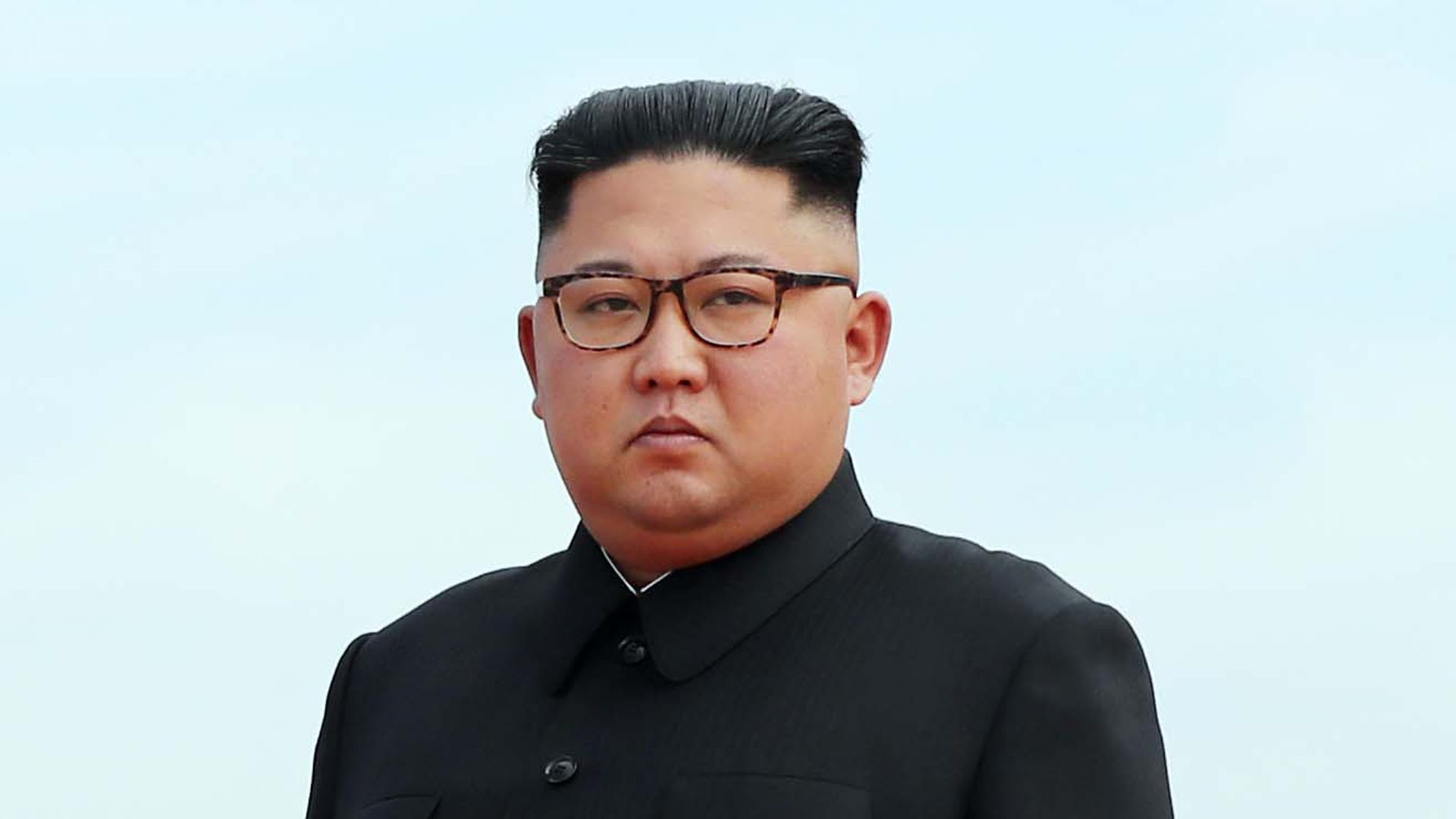 North Korean leader Kim Jong-un looks.