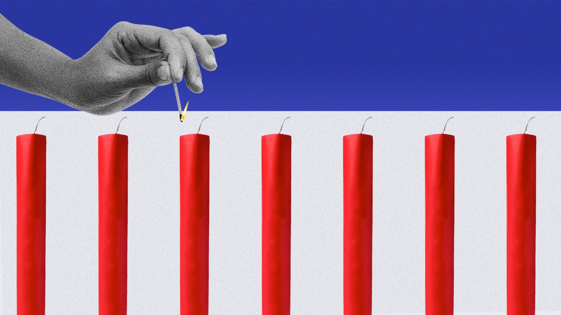 Illustration of red sticks of dynamite on a blue and white background about to be lit with a match.