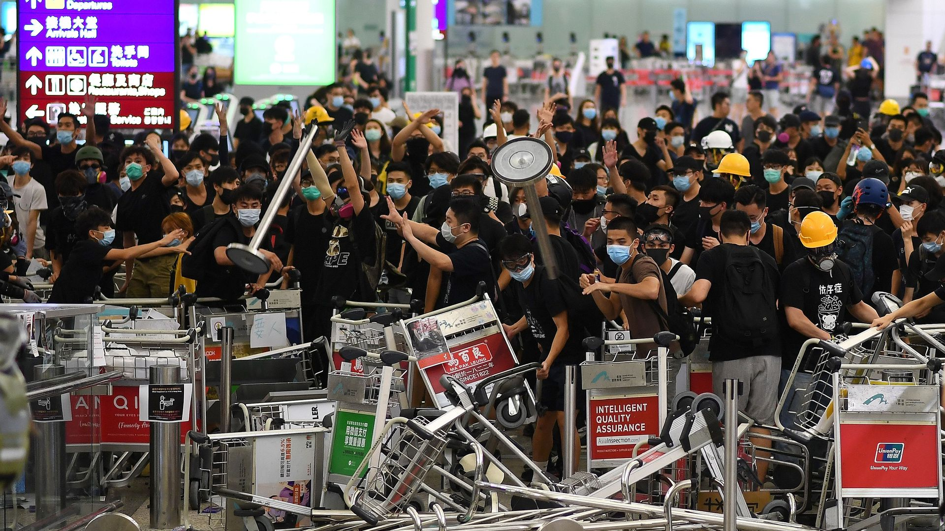 Protestors at Hong Kong airport
