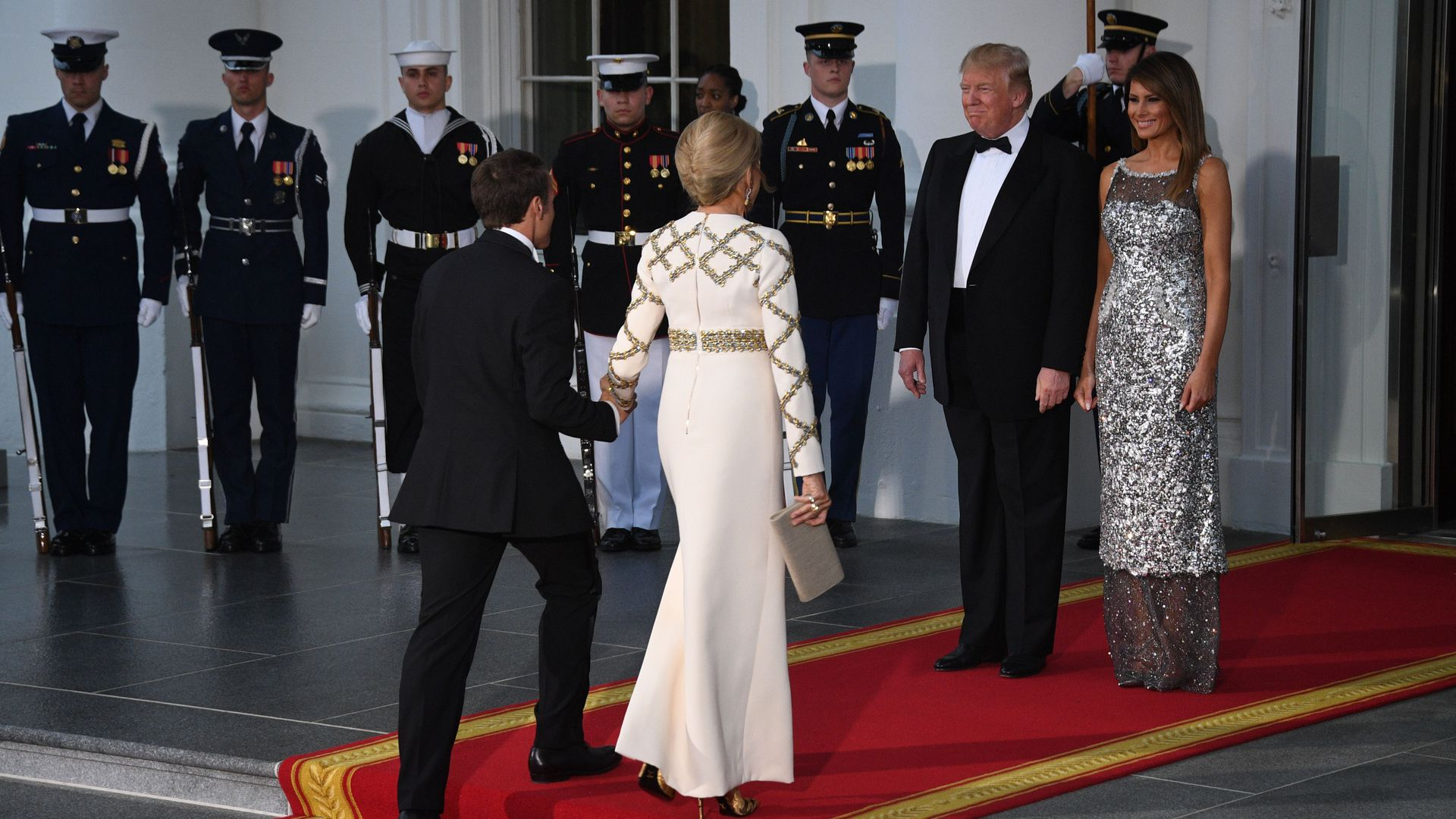 US President Donald Trump and First Lady Melania Trump welcome French President Emmanuel Macron and his wife, Brigitte Macron arriving at the White House.