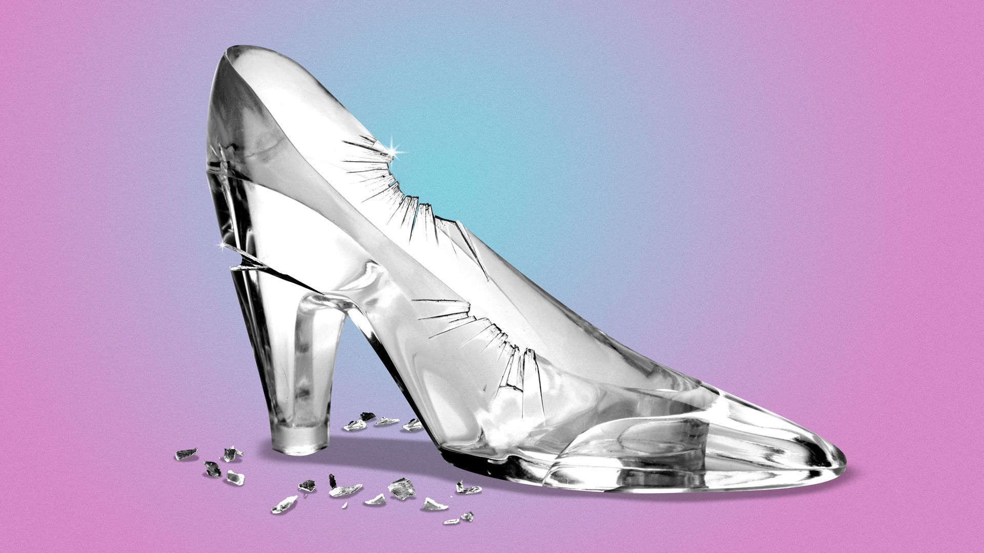 Illustration of a glass slipper with cracks in the glass.