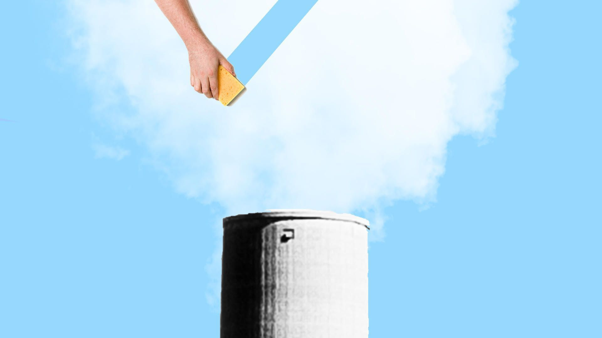 illustration of a smokestack's smoke erased away by a sponge