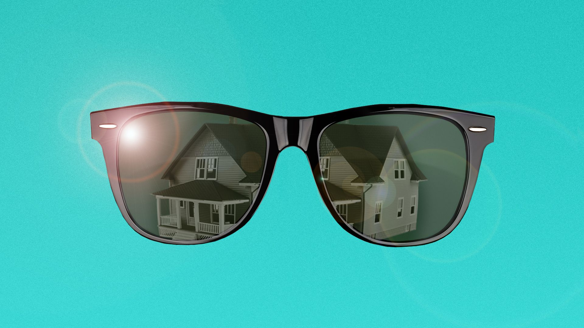 Illustration of a pair of sunglasses with a house reflecting in the lenses.