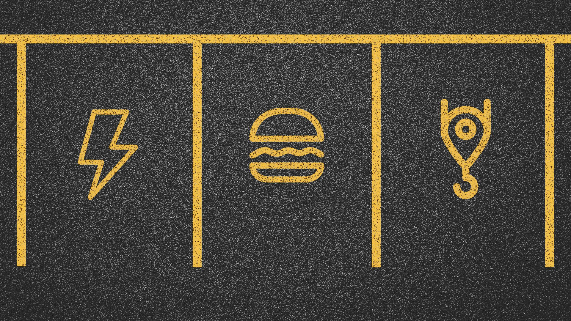 Illustration of parking spaces with food, electricity, and building symbols on the ground