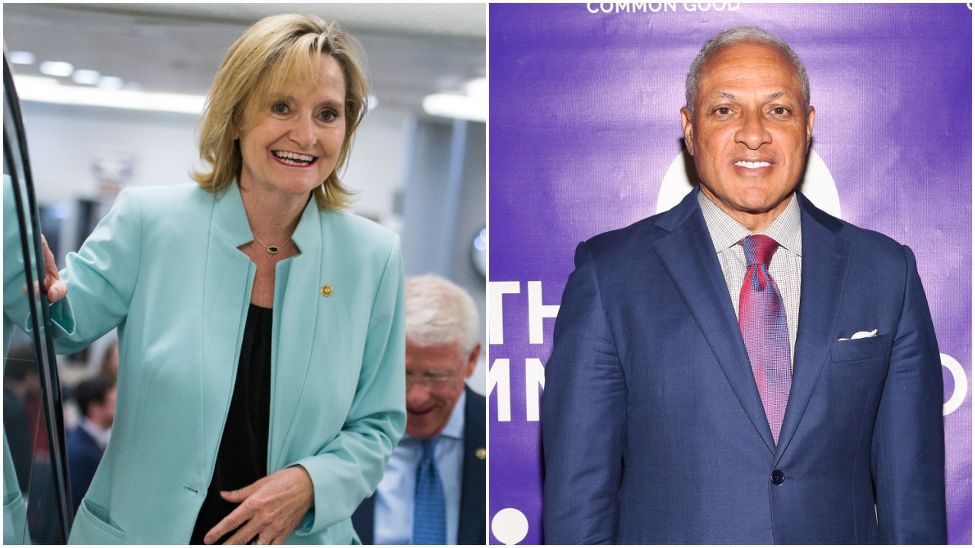 A split picture of Cindy Hyde-Smith and Mike Espy