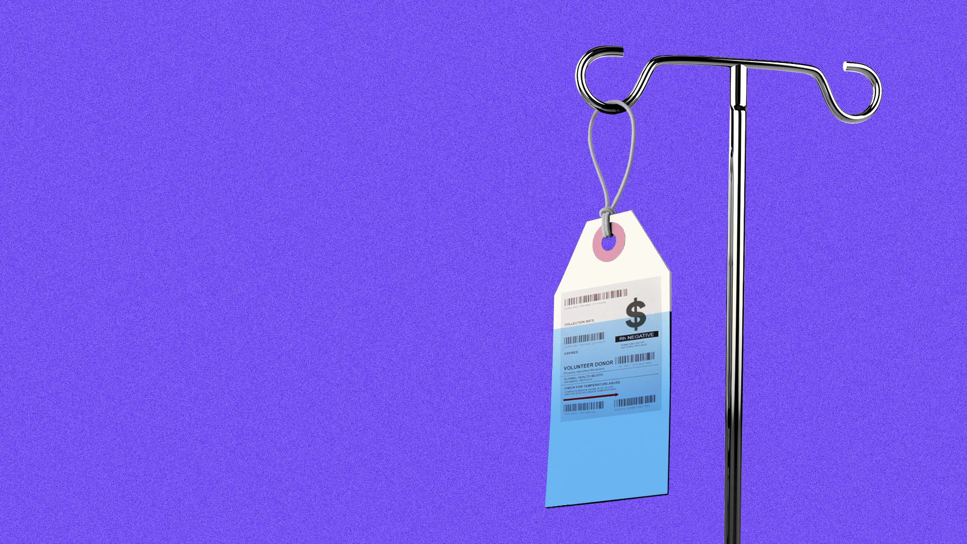 Illustration of a price tag hanging from an IV stand