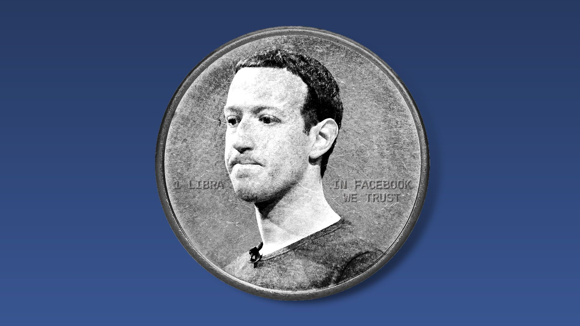 Illustration of a worried Mark Zuckerberg on a coin