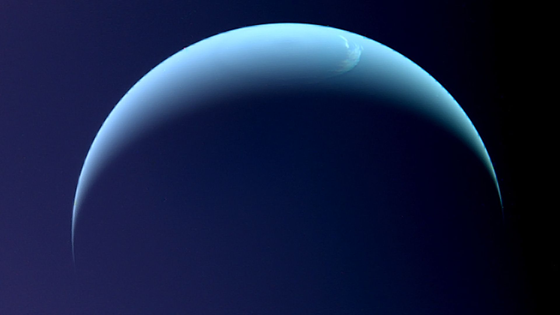 Neptune as seen by the Voyager 2 spacecraft.