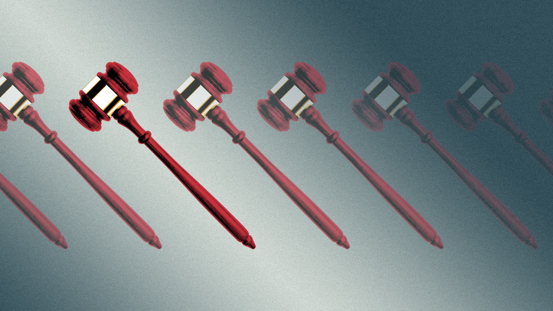 Illustration of a row of gavels, with all but one of them transparent.