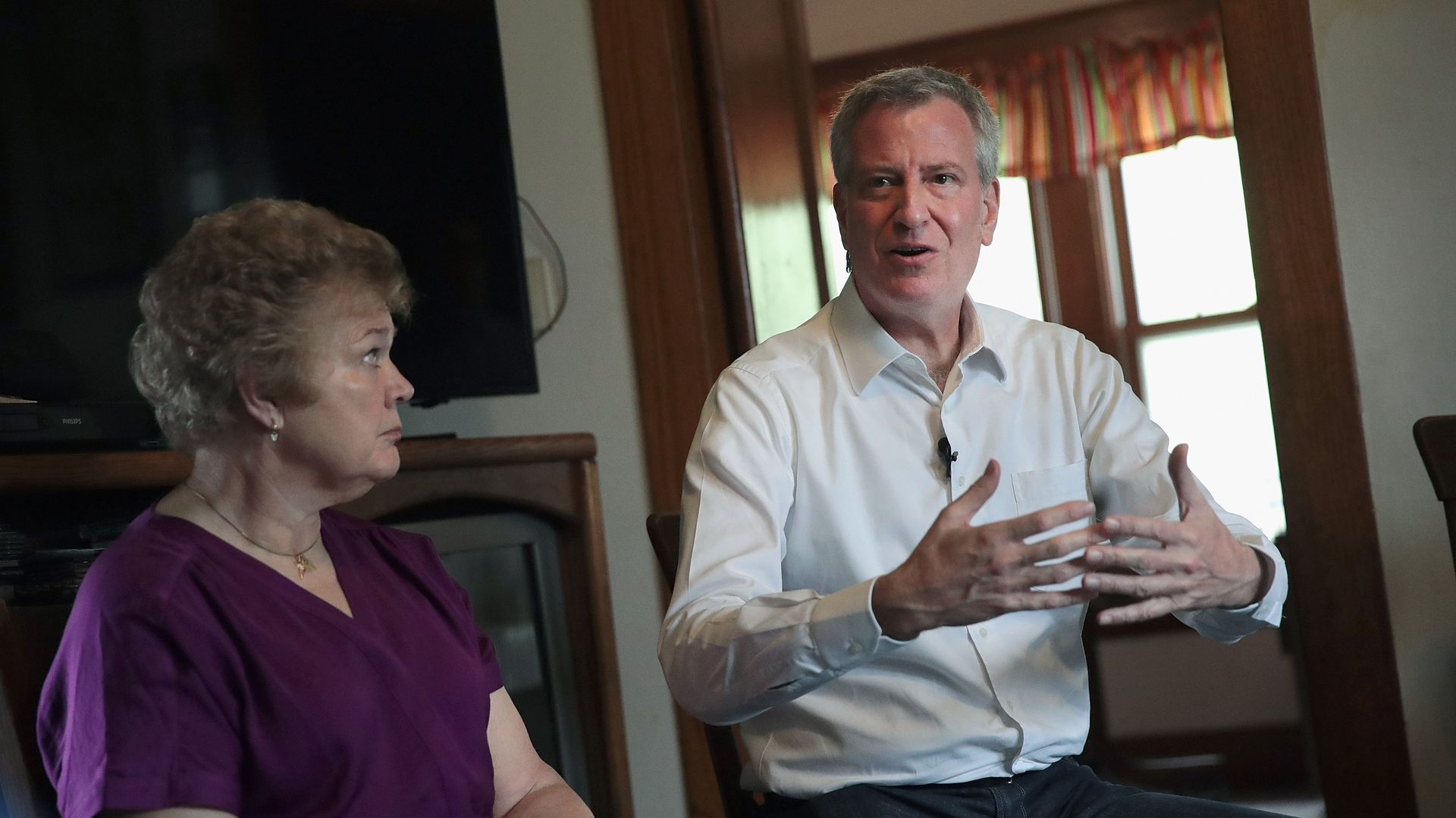 New York City Mayor Bill de Blasio campaigning in Iowa