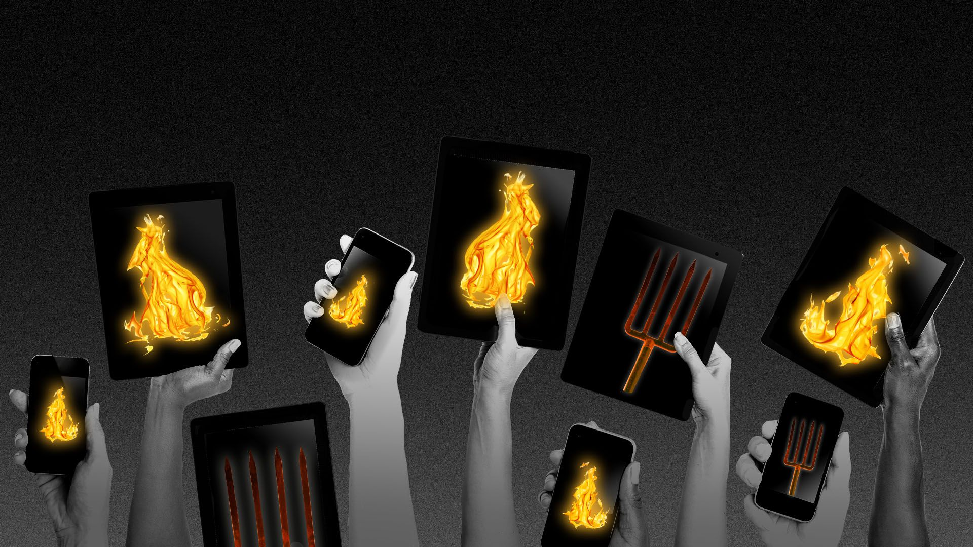 Illustration of a mob holding iPhones and iPads featuring images of pitchforks and fire