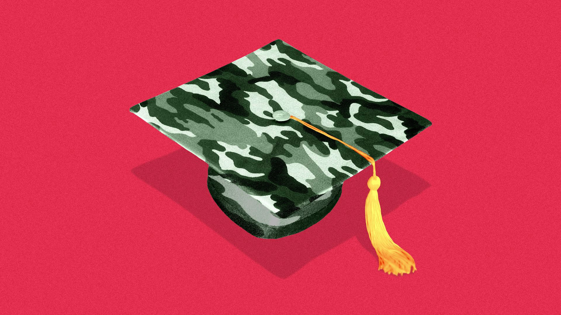 Illustration of a mortarboard with a camouflage pattern on it.