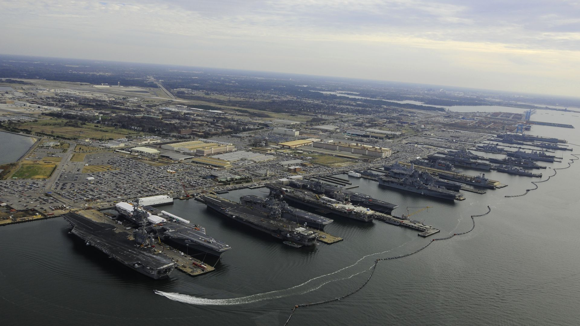 aircraft carriers in port at Norfolk Naval Base