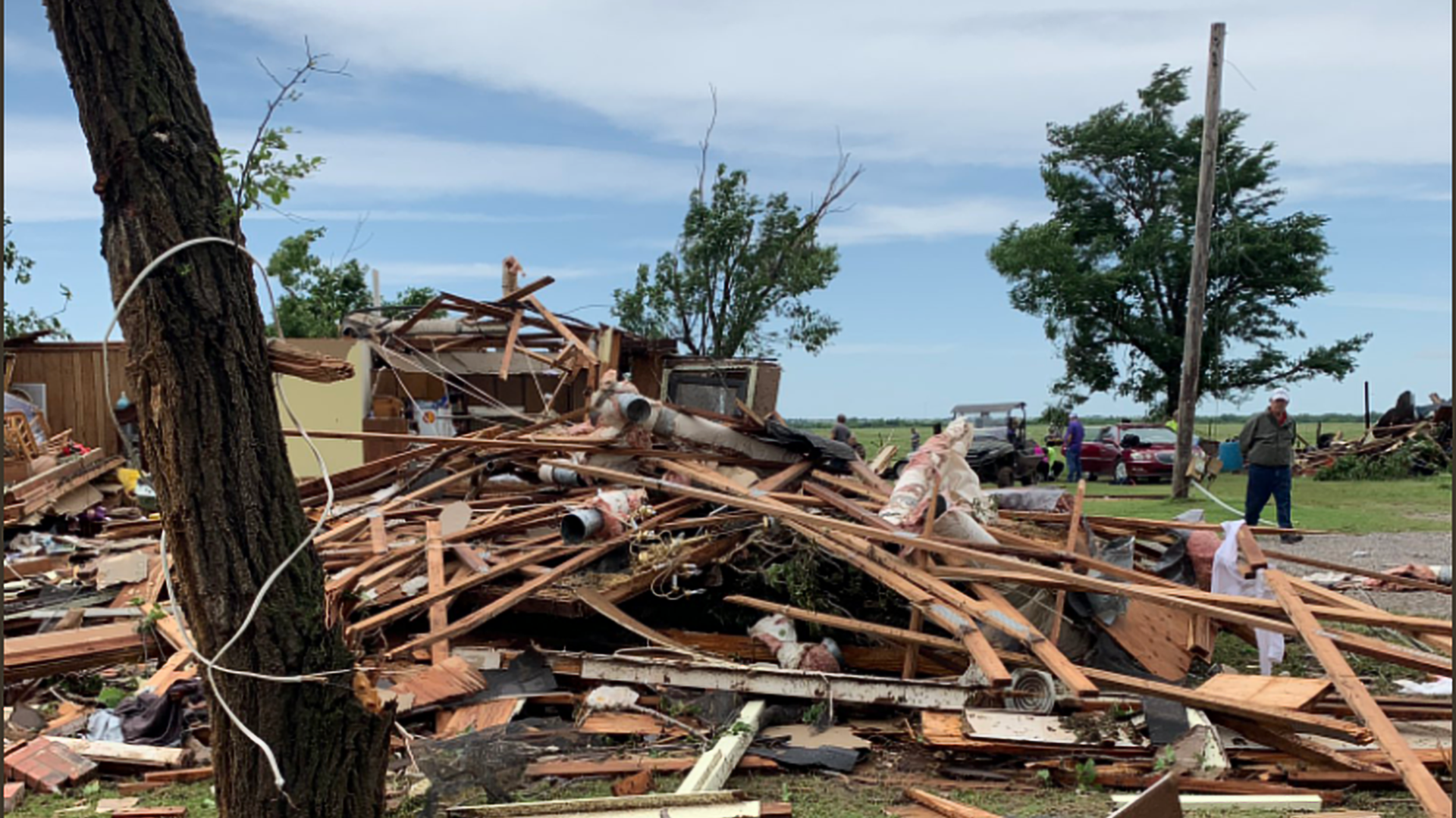 Damage survey confirms an EF2 tornado caused the damage east of Geronimo early Saturday.