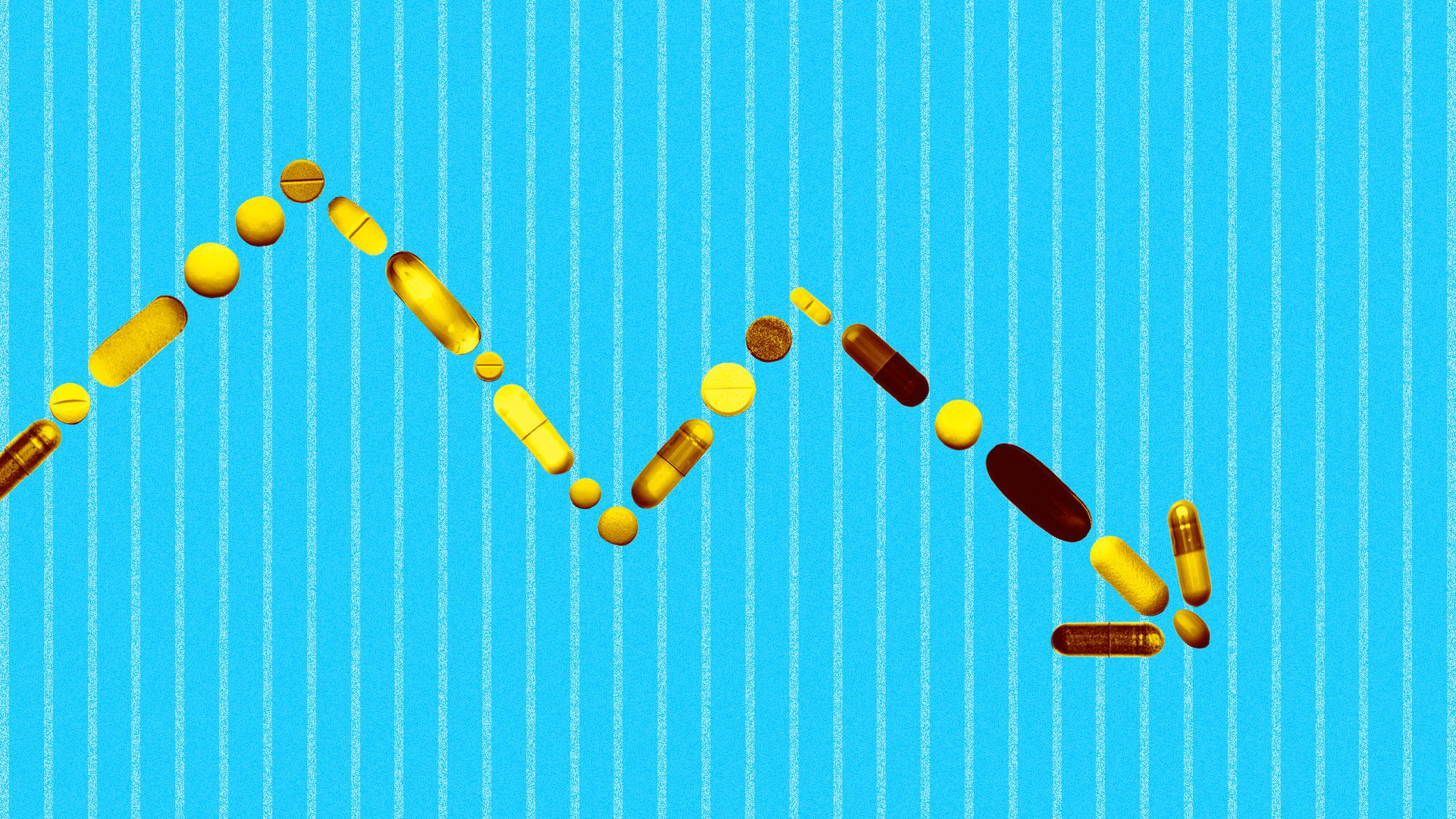 Illustration of a downward market trend line made up of golden pills.