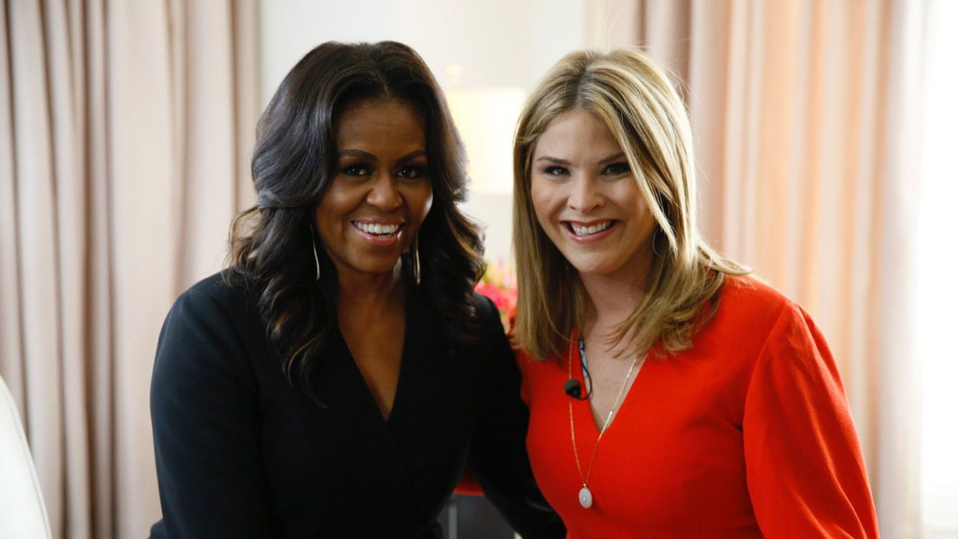 Michelle Obama and Jenna Bus