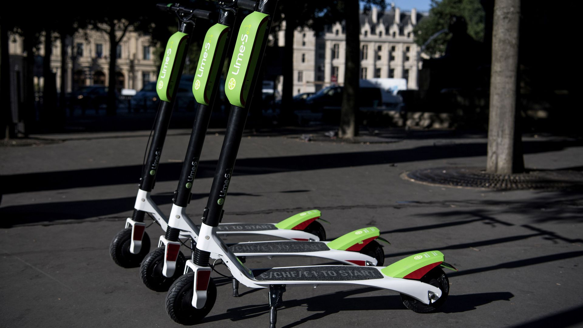 Photo of Lime scooters in Paris.