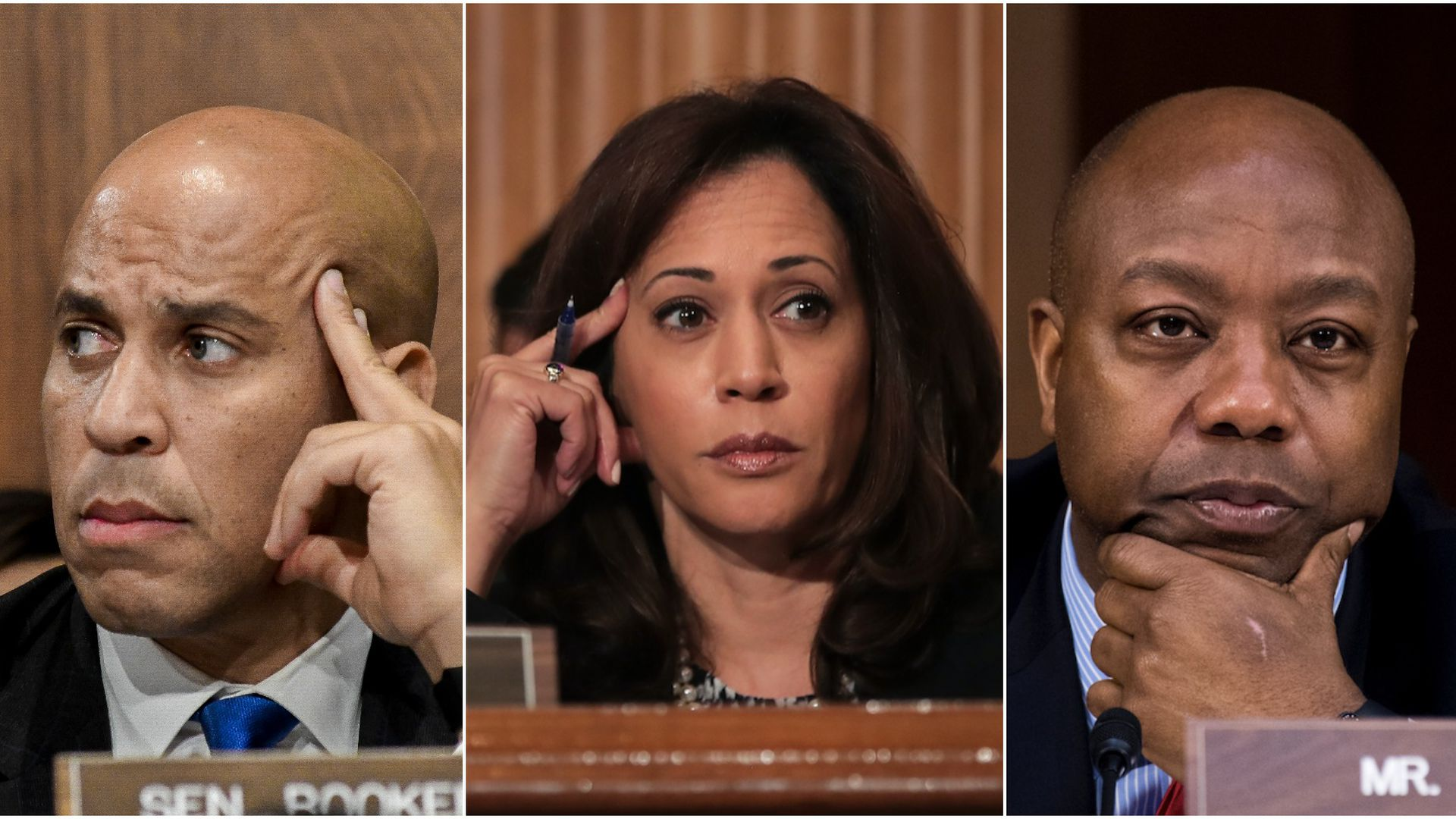 Senators Cory Booker, Kamala Harris, and Tim Scott in split screens lean their heads in their hands.
