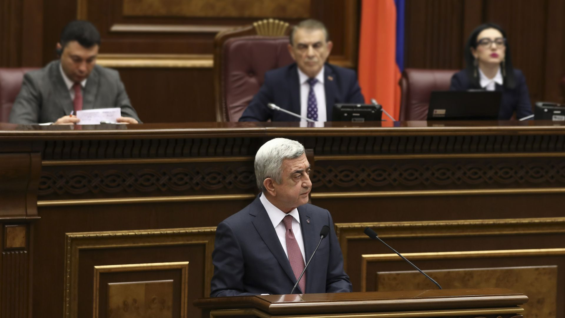 Armenia's former president Serzh Sarkisian at a session of parliament in Yerevan.