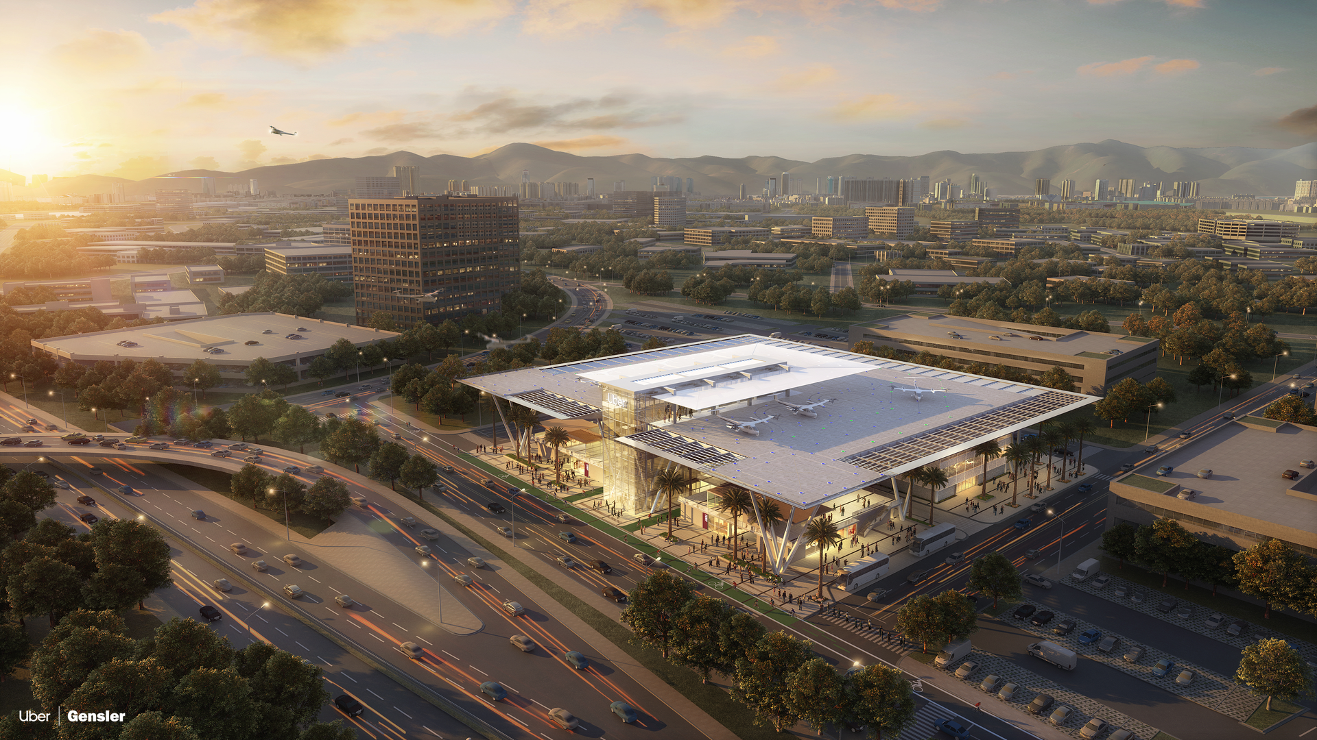 Rendering of an urban skyport for aerial taxis in Los Angeles