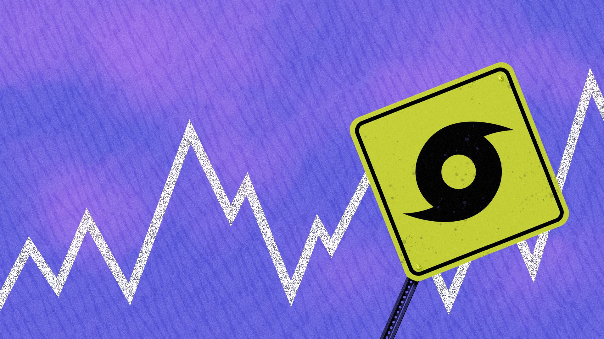 Illustration of a road sign with a hurricane icon on it in a storm