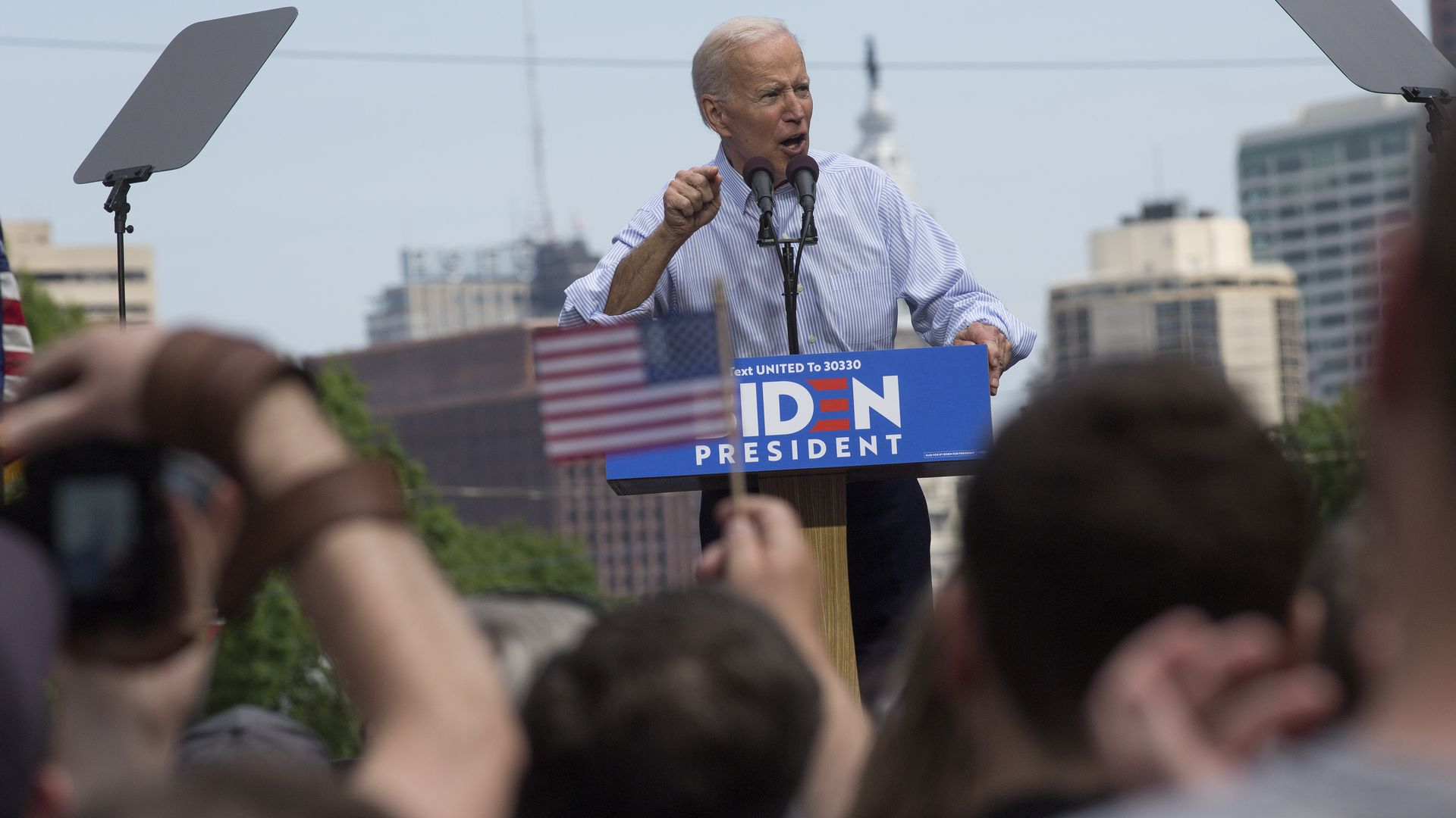 Former Vice President Joe Biden campaigns for president at a kickoff rally on March 18, 2019 in downtown Philadelphia, Pennsylvania.