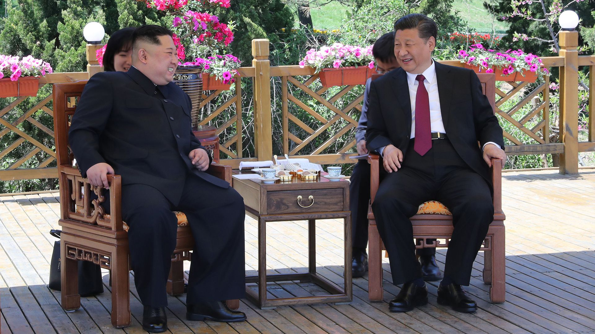 Xi Jinping holds talks with Kim Jong-un in China on May 7–8.