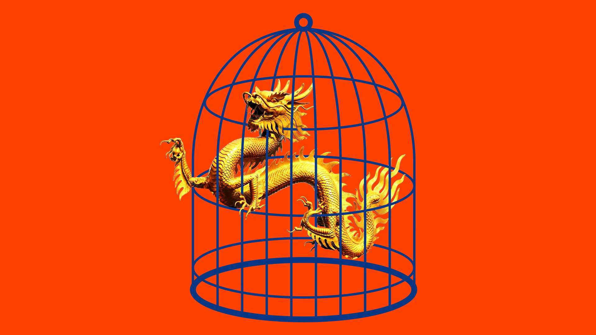 Chinese dragon trapped in a cage.
