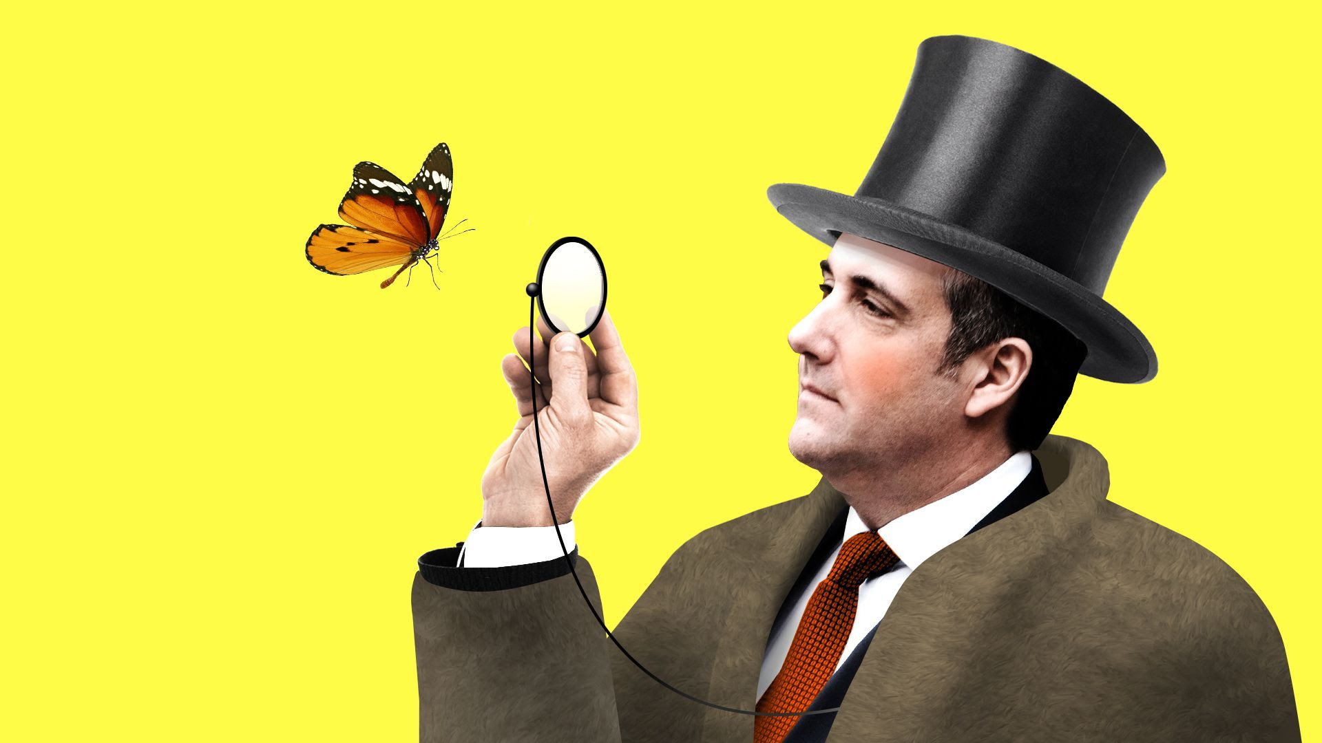 Illustration Of Michael Cohen Wearing A Top Hat And Looking Look Magnifying Glass With