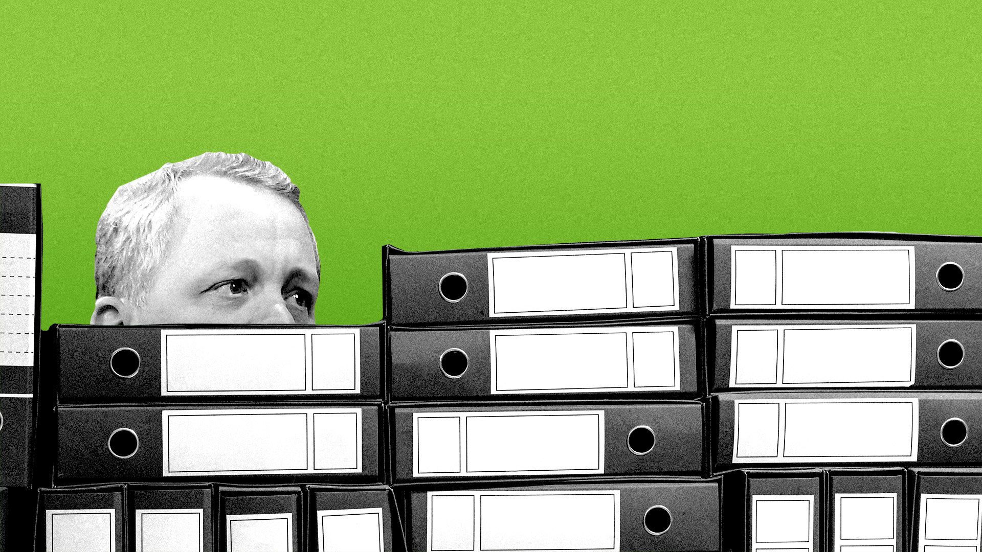 Illustration of Bill McGlashan buried under a stack of legal binders.