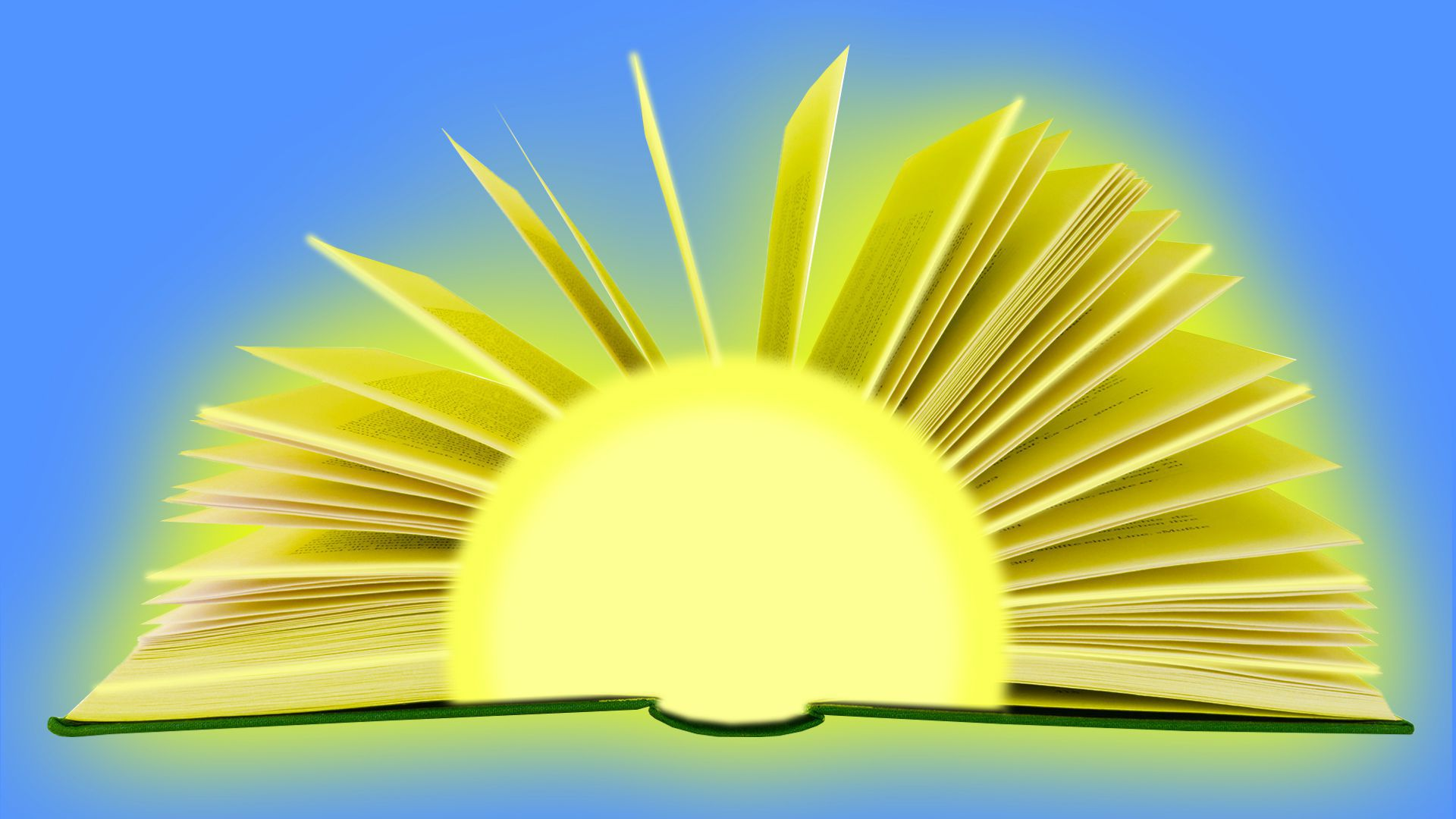 Illustration of a sun with rays made from an open book