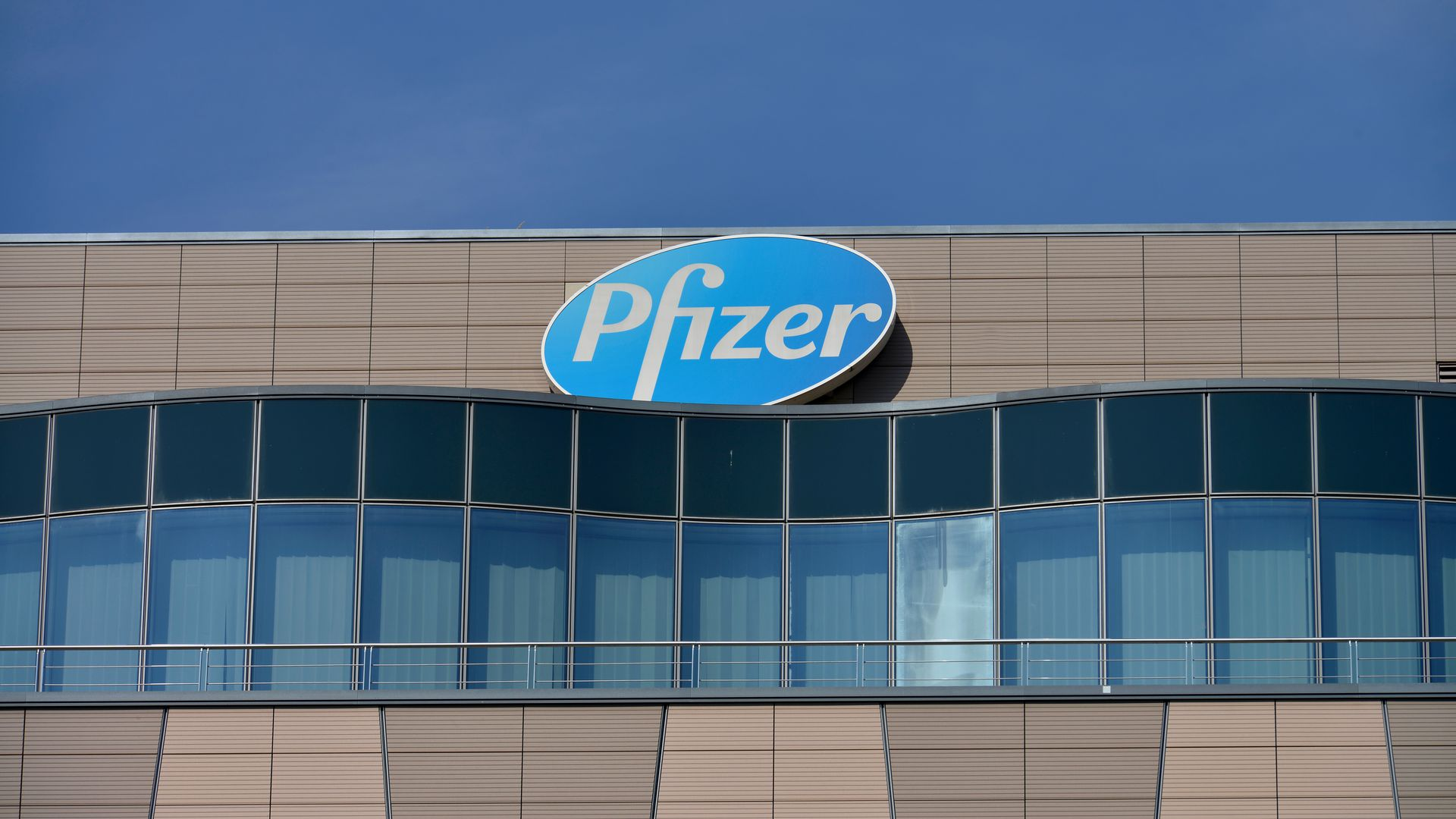 A building with the Pfizer logo.