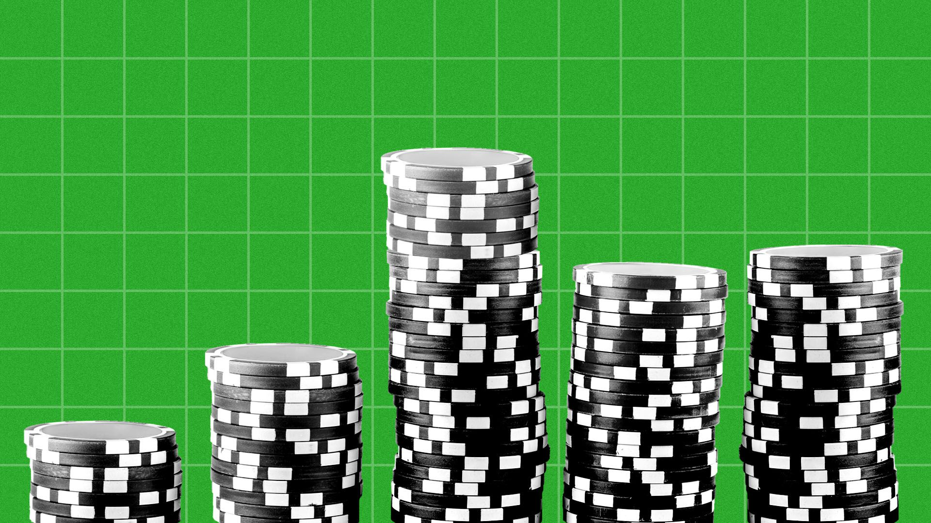 Illustration of piles of gambling chips arranged as a bar graph