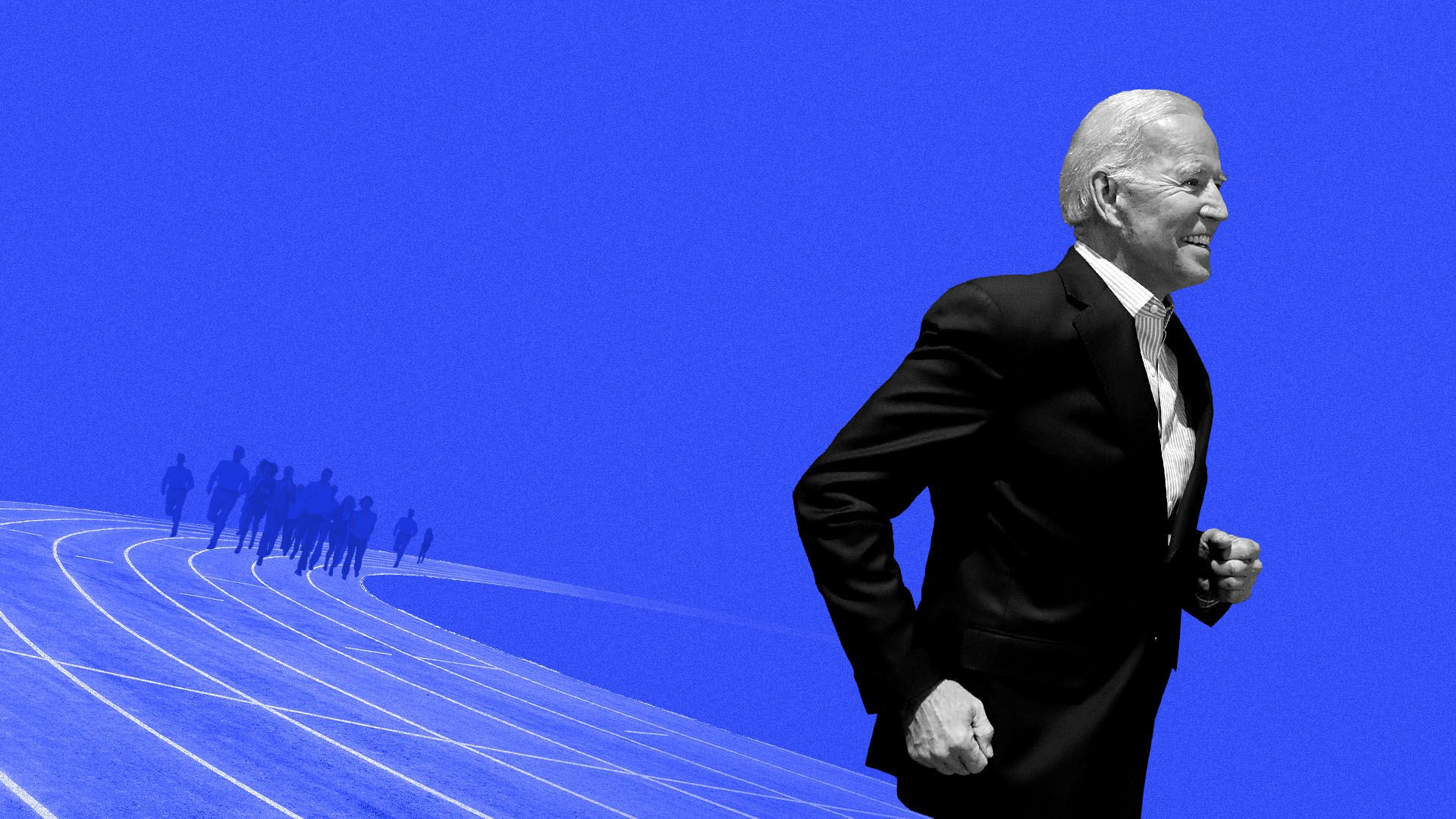 In this illustration, Biden outpaces other runners on a race track.