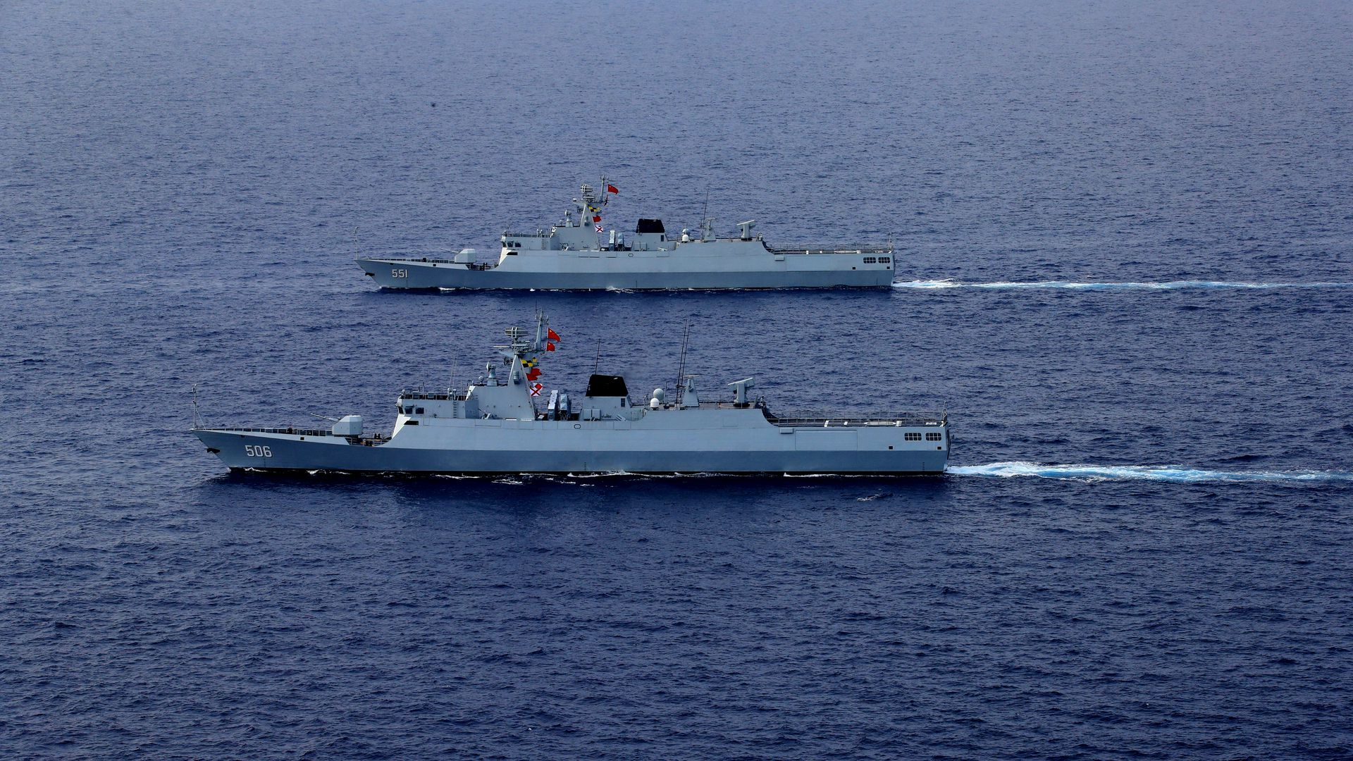 A Chinese PLA Navy fleet taking part in a review in the South China Sea last month.