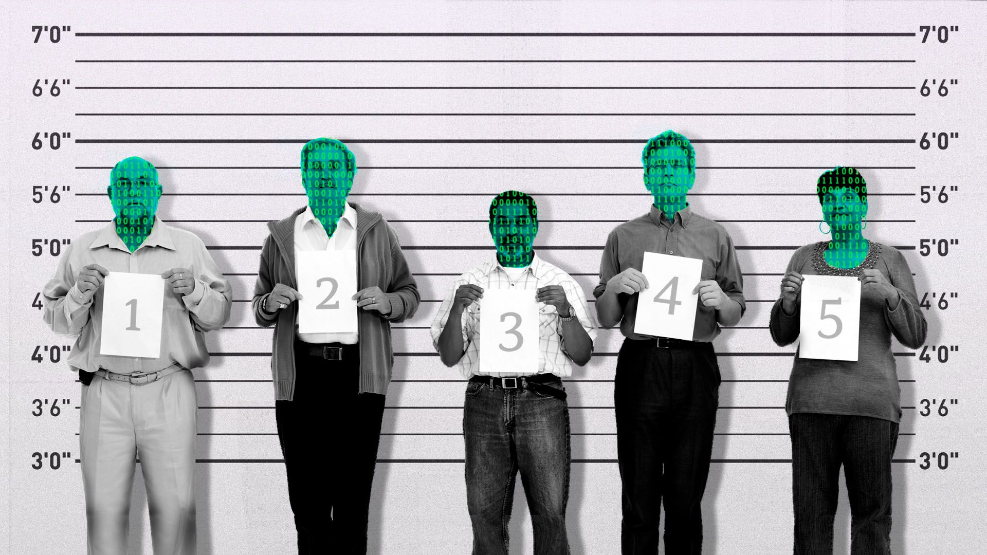 Illustration of a police line-up with binary code over the people's faces